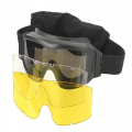 Gafas Pro Airsoft 3 Cristales - Negro